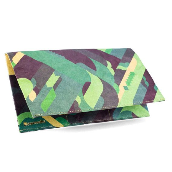 Paper-Thin Clutch Unisex for Men & Women - Green Design by PianoFuzz - Made in Tyvek - Eco-friendly and 100% Recyclable