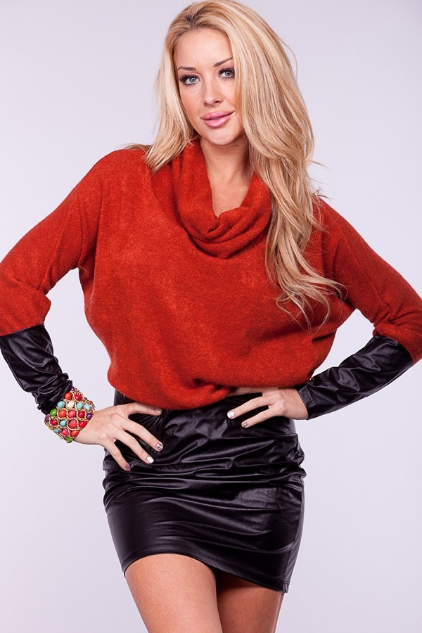 RUST KNIT COWL NECK LONG SLEEVES FAUX LEATHER SKIRT DRESS