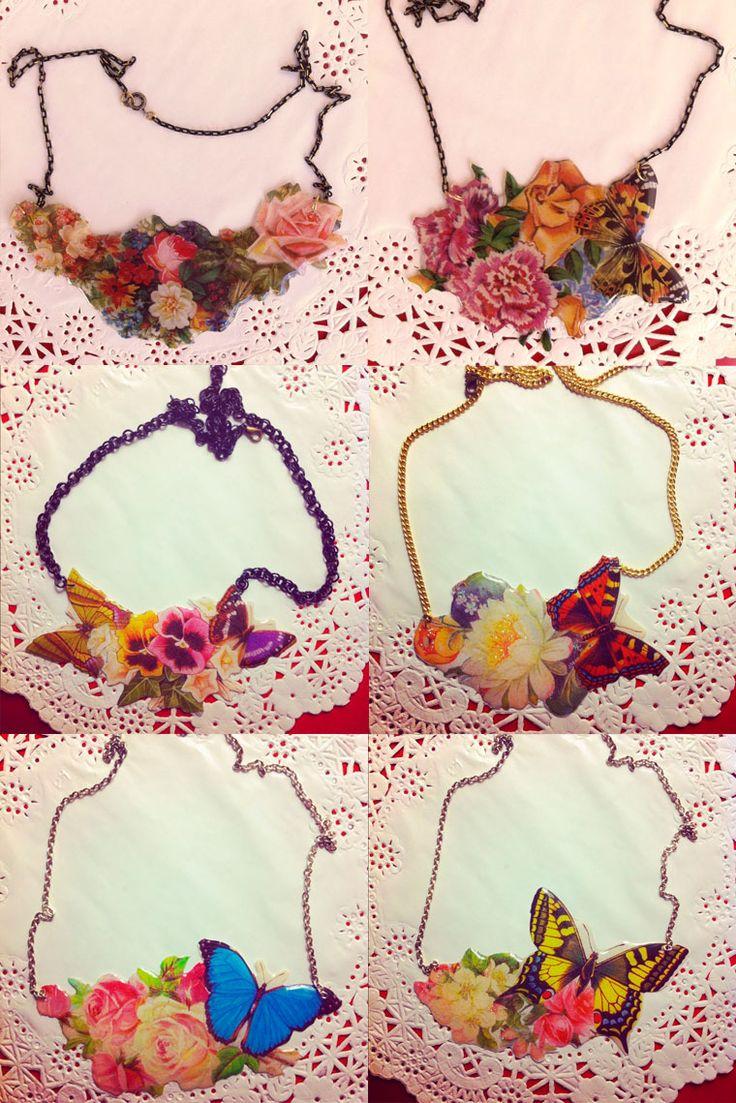 Collares de mariposas   azulmostaza.com