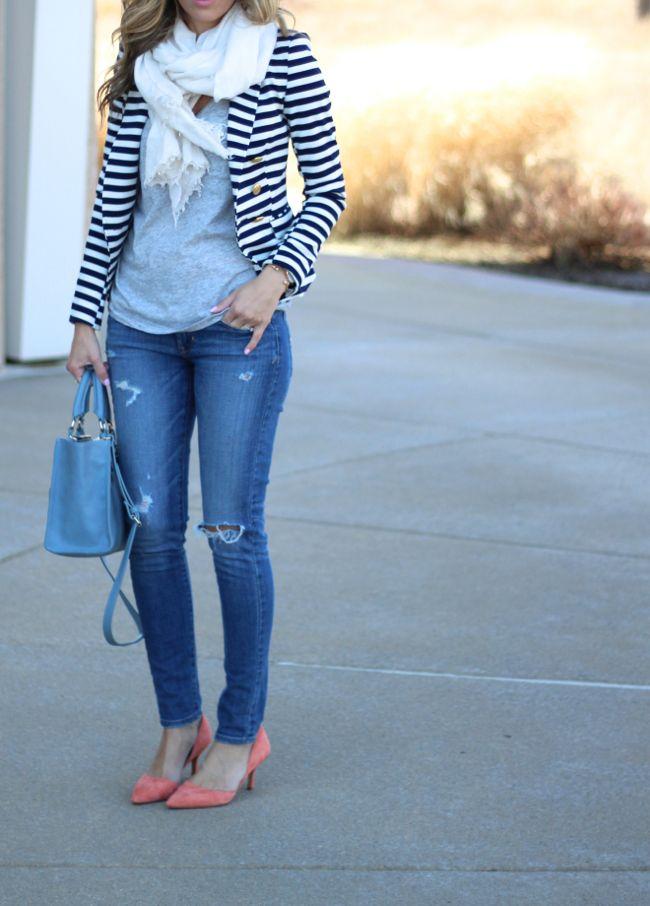 Nautical striped blazer, distressed denim, colorful heels | Lilly Style