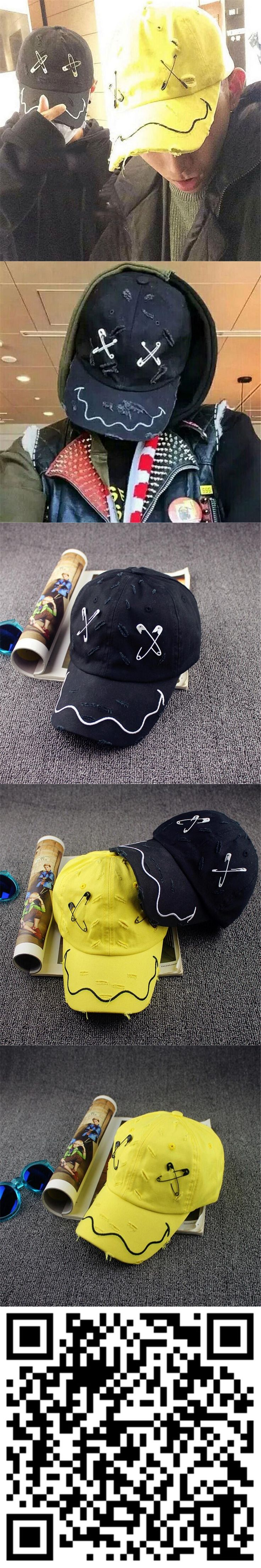 2016 new Gd unisex solid Ring Safety Pin curved hats fashion hoop baseball cap men women snapback caps sport casquette gorras