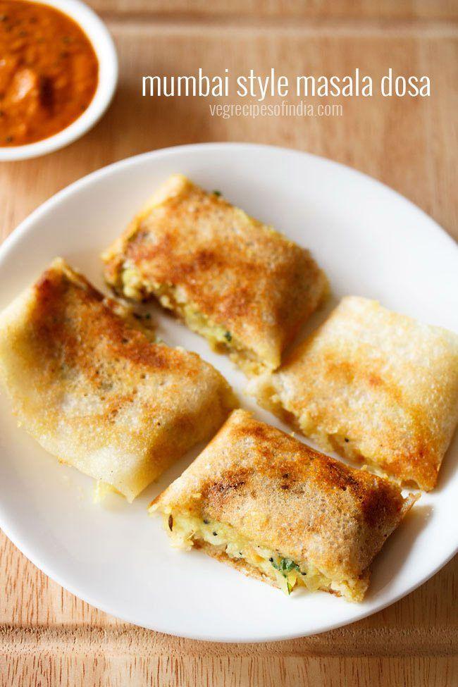 Masala dosa recipe mumbai style - Crisp dosas served with potato bhaji or potato masala.