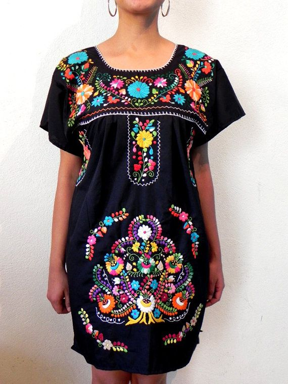 Mexican Mini Dress Black Traditional Tunic by madeintechnicolor