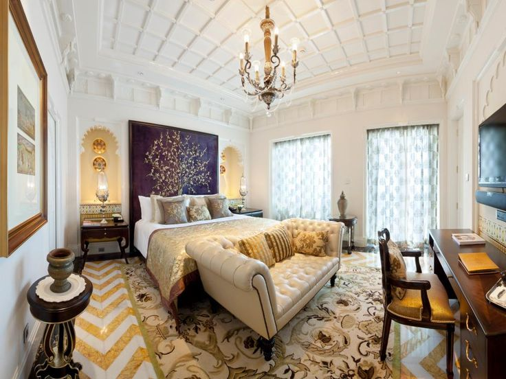 luxurious bedroom with beautiful long chair
