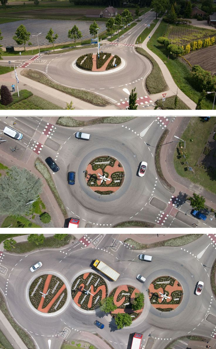 In the dutch city Zundert (the birthplace of Vincent van Gogh) four roundabouts are constructed in a special way. Together they form the signature of the famous painter. By Ton van Beek Buitenruimte & Architectuur. www.TvBBA.nl