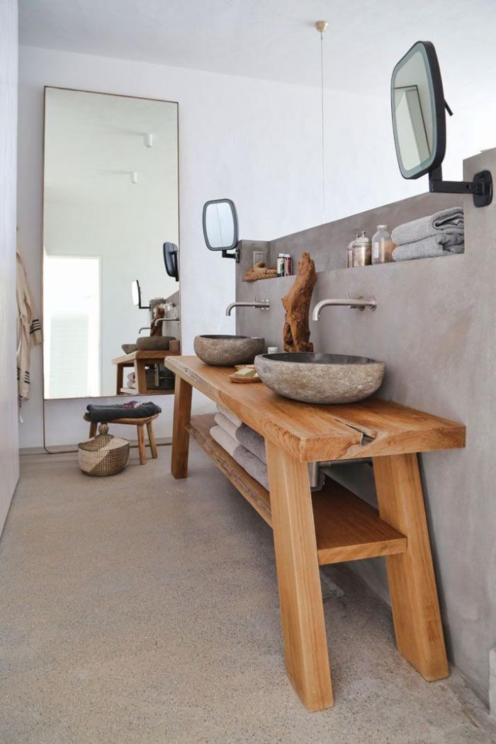 salle de bain rustique, équipement original de salle de bains