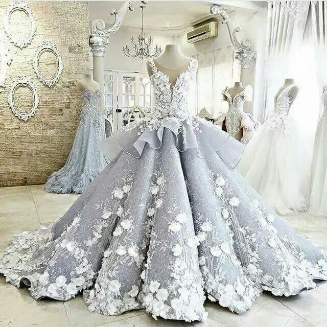 Retro Lace Empire Wedding Gowns Bridal Dresses Appliques Flowers Custom Made