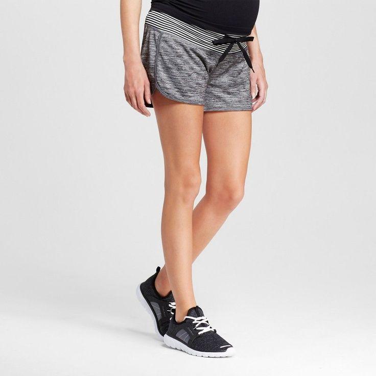 Women's Maternity Under the Belly Athleisure Shorts - Ebony Heather/Black Xxl - C9 Champion