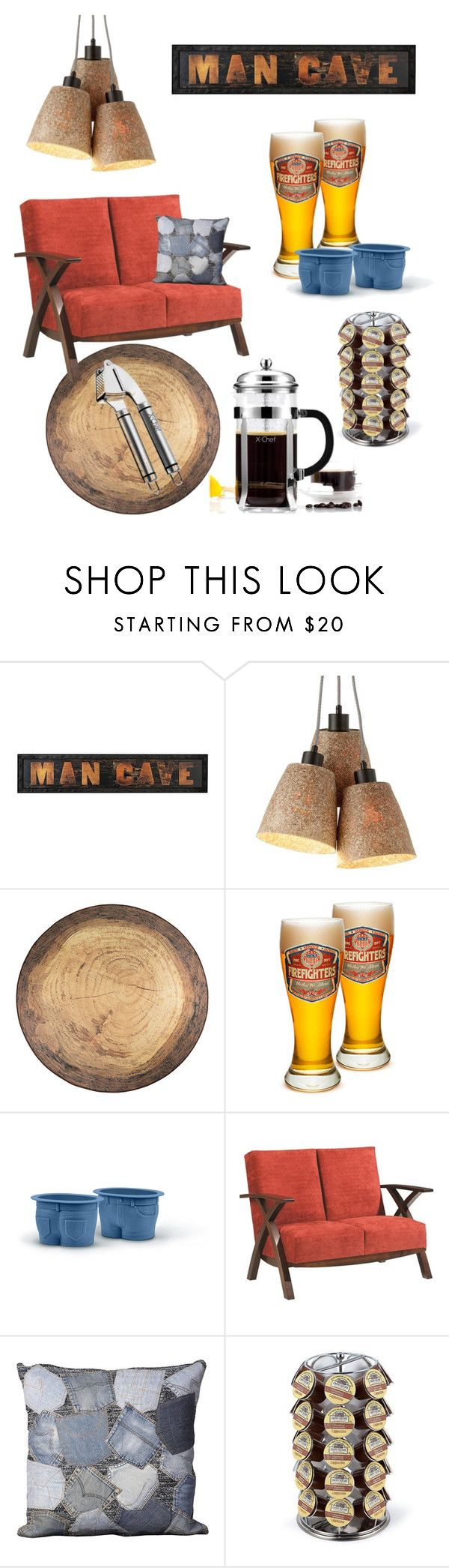 """""""Man's Cave"""" by ioakleaf on Polyvore featuring interior, interiors, interior design, home, home decor, interior decorating, Fred & Friends, DutchCrafters, Mina Victory and Keurig"""