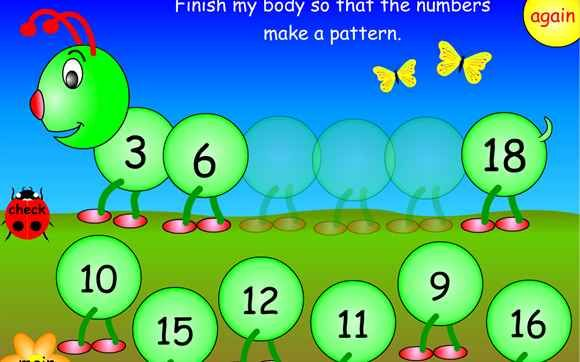 Game for ordering numbers and number sequences. Order numbers up to 100 and complete sequences counting on and back in 5s.