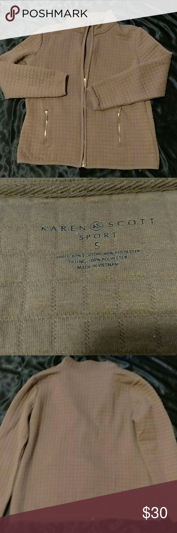 KAREN SCOTT SPORT JACKET Karen Scott sport jacket. Size small. In great condition.Color is tan. Sorry, my lighting is bad on my phone. Karen Scott Jackets & Coats