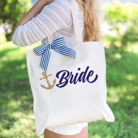 nautical wedding tote bag gift for bride or bridal shower