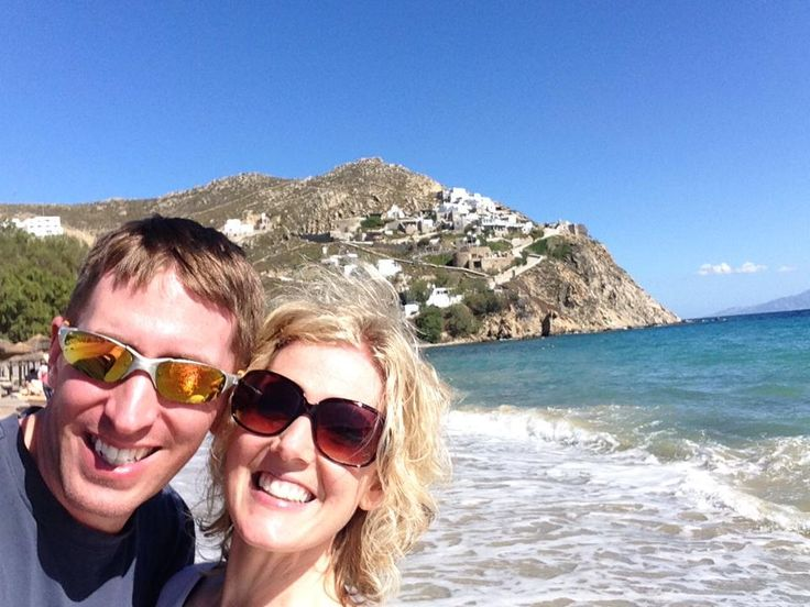 My cute hubby and me on the beach on Mykonos, the Greek Island.  All-inclusive all expenses paid Scentsy inventive trip for two, for the Top 100 Scentsy Consultants 2014. #freetrip #joinmyteam #incentivetrip