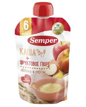 Semper яблочно-персиковое со злаками в мягкой упаковке  — 88р. - Фруктовое пюре яблочно-персиковое со злаками в мягкой упаковке Semper очень вкусное и полезное. Оно очень понравится маленькому гурману, ведь такое в=сладкое и ароматное. Вы можете взять его с собой на прогулку, чтобы быстро накормить проголодавшегося мал...