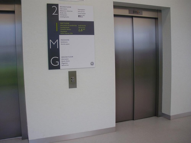 floor directory lift by Opening the Book, via Flickr