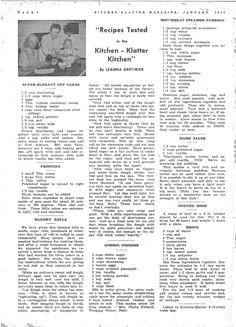 Kitchen Klatter Magazine, January 1948 - Super-Elegant Cup Cakes, Frosting, Bakery Rolls, School Cookies, Mincemeat Steamed Pudding, Hard Sauce, Corned Beef, Brine