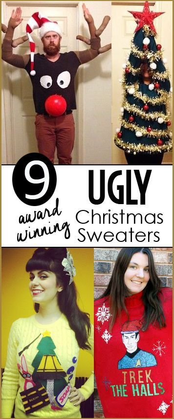 9 Ugly Christmas Sweaters.  Make and create the coolest Christmas sweater for your holiday party.  Award winning Christmas sweaters for both men and women.