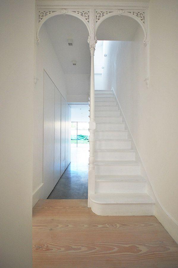 Minimalist interior, old and new, Dinesen Flooring, Concrete Flooring, Terraced house refurbishment, Queens Park , London