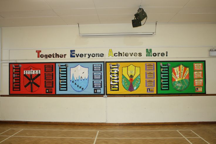 House Point 'TEAM' (Together Everyone Achieves More) whole school hall display.