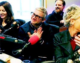 """rominatrix: """"""""Martin Freeman and Tamsin Greig during a live performance from The Fizz during BBC Radio 2 The Chris Evans Breakfast Show source download video """" """""""