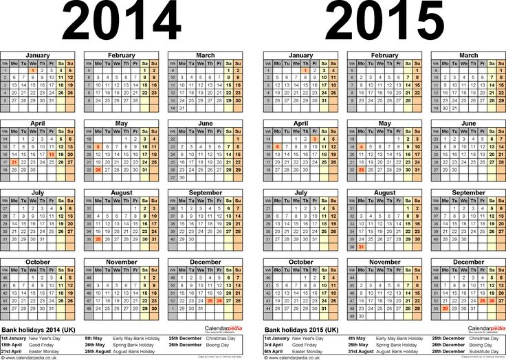 one page calendars 2015