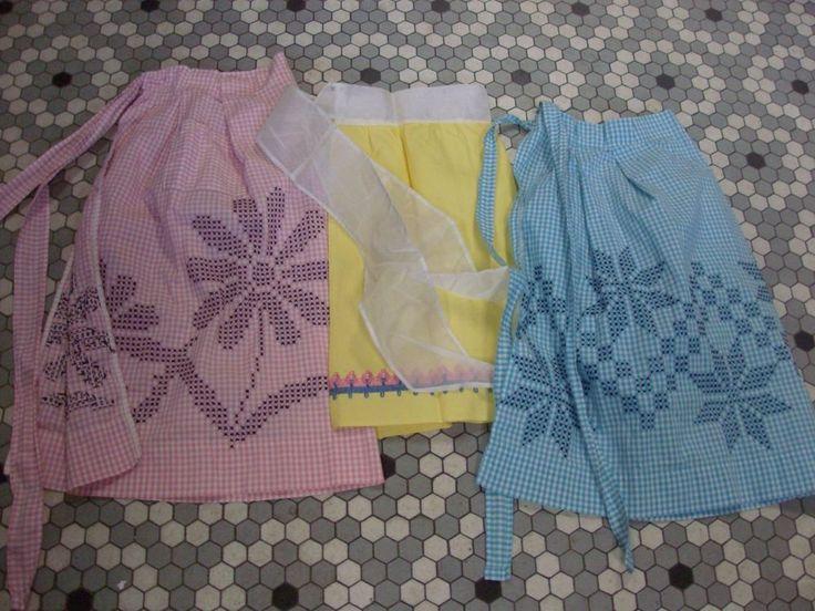 3 Vintage Cotton Aprons -2 Gingham Check w Cross Stitch 1 Huck w Swedish Weaving