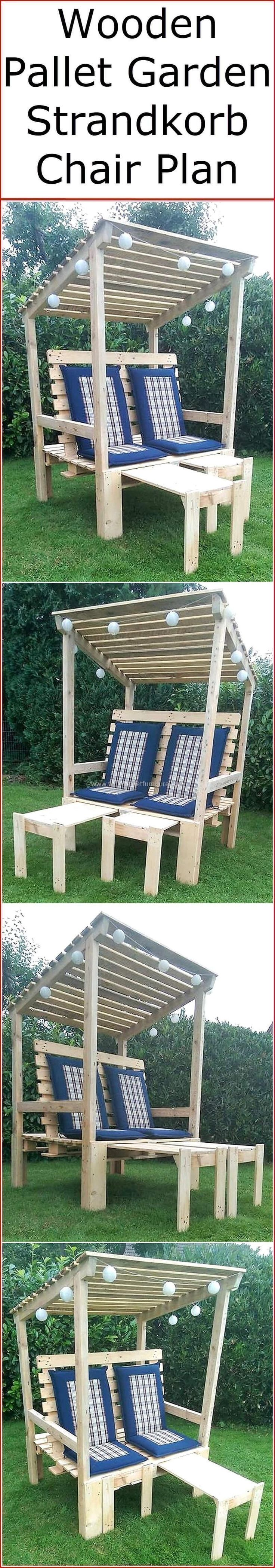 This recycled wood pallet garden strandkorb chair plan will able you to craft a stylish and fascinating wooden project for your comfortable relax in your garden area. This pallet innovation is not only simple to create but also best to serve you in two ways. #pallets #woodpallet #palletfurniture #palletproject #palletideas #recycle #recycledpallet #reclaimed #repurposed #reused #restore #upcycle #diy #palletart #pallet #recycling #upcycling #refurnish #recycled #woodwork #woodworking