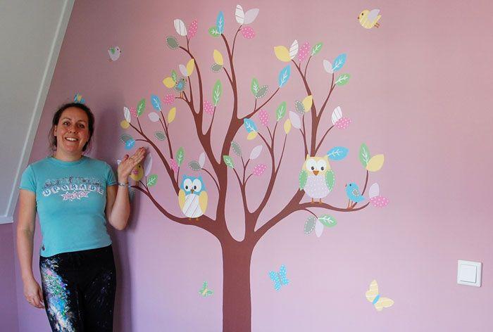 Boom op muur schilderen google zoeken boom pinterest baby room wall decor animal wall - Muur kleur babykamer meisje ...