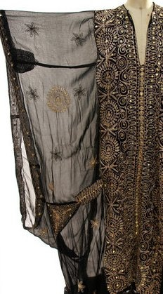 60s Turkish Kaftan with Huge Angel Sleeves and Gold Ethnic Embroidery