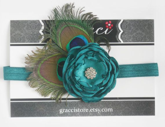 15% OFF  Teal Peacock Satin Flower Headband  Baby by Graccistore