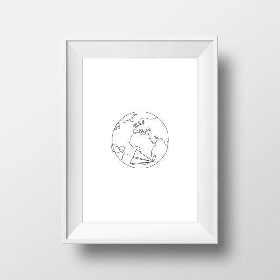 Paper Plane Globe Print World Globe Printables Travel