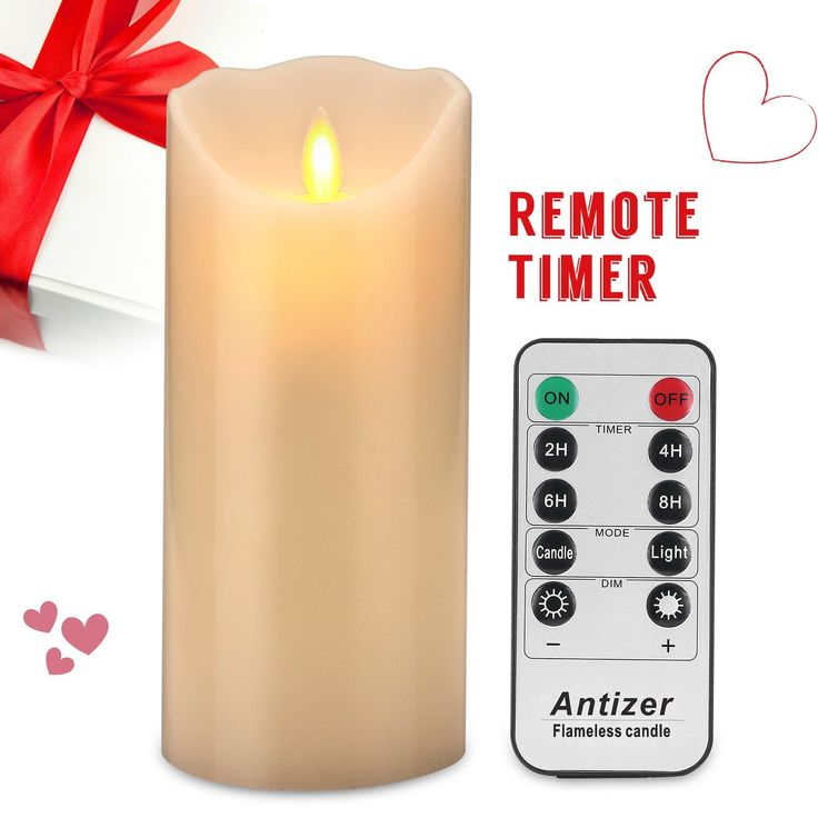 """Amazon.com - Antizer Flameless LED Candles 7"""" Ivory Color Dripless Real Wax Pillars Include Realistic Dancing Flames and 10-key Remote Control with 24-hour Timer Function -"""