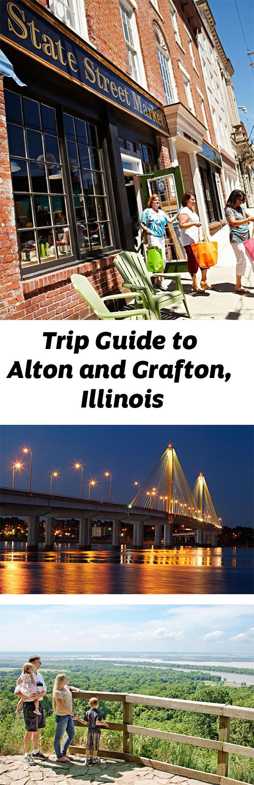 The 33-mile Meeting of the Great Rivers Scenic Byway connects Pere Marquette State Park in the north to Grafton and Alton, Illinois. Riverboat ports, museums and antiquing fill a weekend getaway.: http://www.midwestliving.com/travel/illinois/trip-guide-to-alton-elsah-and-grafton-illinois/