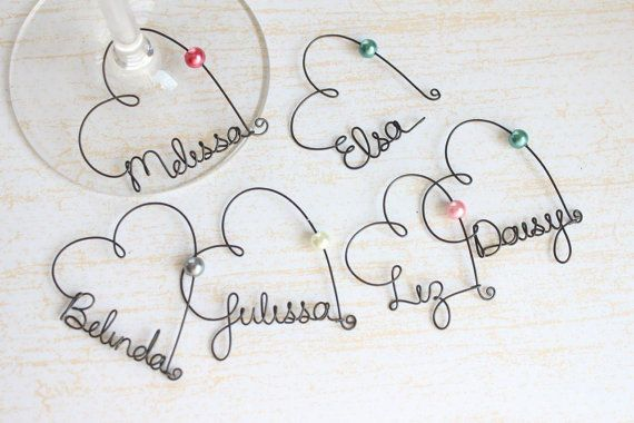 Personalized Wine Glass Charms Wedding Favor Wine by kraze4paper, $7.00