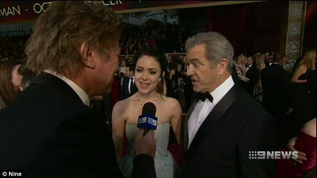 Proud papa! Mel Gibson, 61, focused much of his attention on his two-week-old son Lars when Channel nine presenter Richard Wilkins caught up with him on the red carpet on Monday