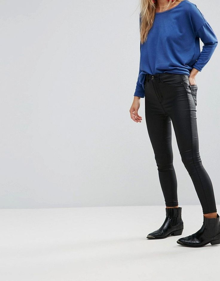 Get this Only's skinny jeans now! Click for more details. Worldwide shipping. Only Royal Rock Coated High Waisted Skinny Jeans - Black: Jeans by Only, Stretch coated fabric, Faux-leather finish, High-rise waist, Concealed fly, Skinny fit - cut very closely to the body, Machine wash, 77% Viscose, 20% Nylon, 3% Elastane, Our model wears a UK S L32 and is 168cm/5'6 tall. Danish high street brand Only brings forth a casual, feminine collection of classic denim, bold print tees and vests in true…