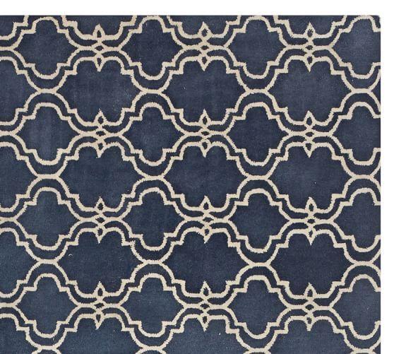 Scroll Tile Tufted Rug Indigo Blue Pottery Barn Home