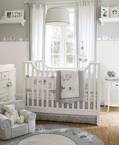Gray Elephant Nursery with a pop of color, great if the gender is a surprise.