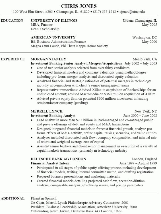 sample resume sample investment banking resume sample investment - Sample Resume Investment Banking
