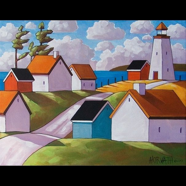 lighthouse abstract paintings | 14x18 Lighthouse Original Modern Folk Art Painting Abstract Landscape ...
