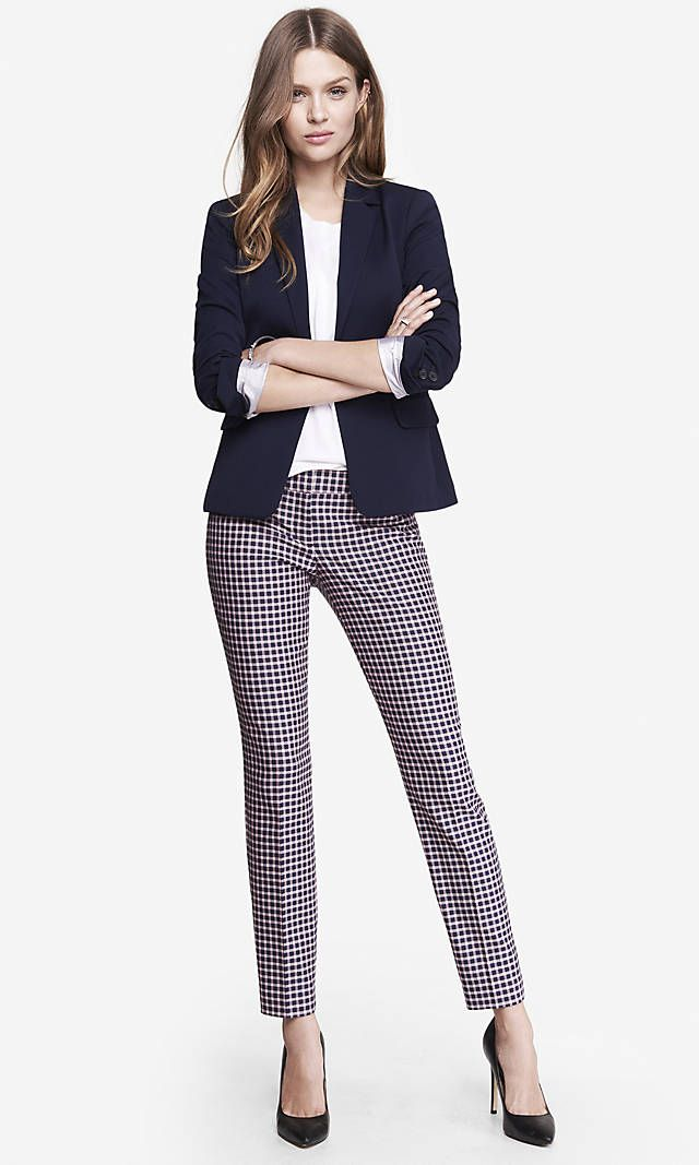 PLAID EDITOR ANKLE PANT | Express