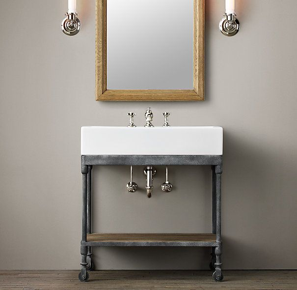 Industrial Vanity: Dutch Industrial Console Powder Room Vanity Also Need To