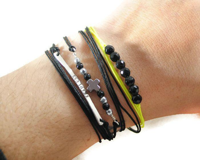 Black Onyx Beads On Neon Yellow Cord Bracelet. Triple Wrapped Bar Cord Bracelet. Minimal Friendship Beaded Cord Bracelet. GSminimal Jewelry.