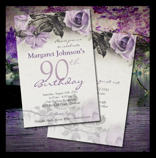 Our Sterling Silver rose 90th birthday invitation design has been featured here. #birthday #invitations