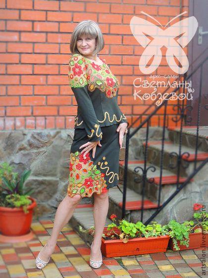 "Костюм ""Осенний шик"" - костюм,осенняя мода,Вязание крючком,вязанная кофта"
