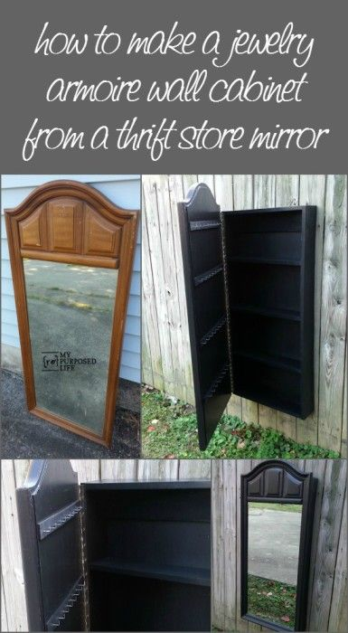 This is Brilliant! How to make a mirrored jewelry wall cabinet out of a thrift store mirror from My Repurposed Life