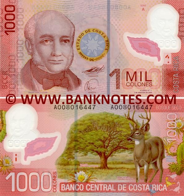 Costa Rica 1000 Colones 2009  Front: Head of State of Costa Rica Braulio Carrillo Colina (1800-1845). Back: Fauna and flora of the Bosque Seco, the Dry Forest in Guanacaste: Guanacaste or Elephant Ear Tree (Enterolobium cyclocarpum); Venado coda blanca or White-tailed deer (Odocoileus virginianus); Costa Rica Pitahaya (Hylocereus costaricensis) cactus in bloom; Scorpions. Watermark: Coffee leaves; Map of Costa Rica (see-through feature).