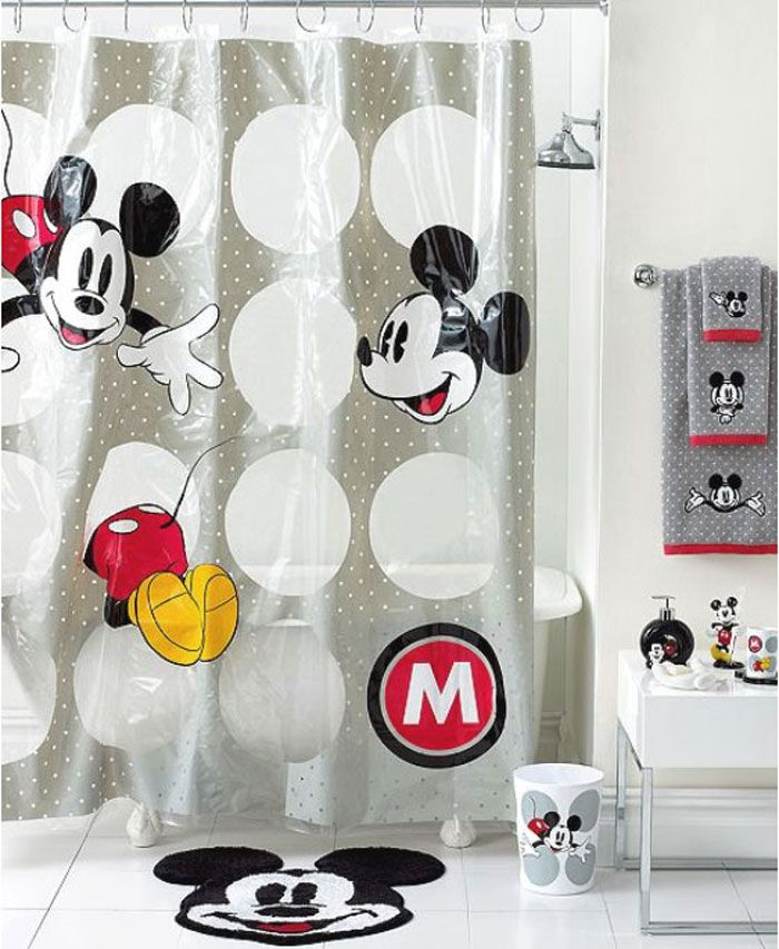 Disney Bath Accessories  Disney Mickey Mouse Shower Curtain   Shower  Curtains   Accessories   Bed   Bath   Macy s Bridal and Wedding Registry. 37 best Disney Mickey Mouse Shower Curtain and Bath Accessories