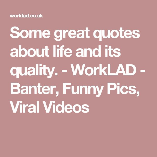 Some great quotes about life and its quality. - WorkLAD - Banter, Funny Pics, Viral Videos