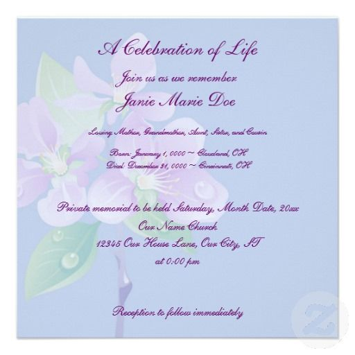 18 best Celebration Of Life Invitations images on Pinterest - memorial service invitation wording